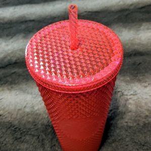 Starbucks Accessories - *RARE* Starbucks Neon Pink Studded Cold Cup 24oz